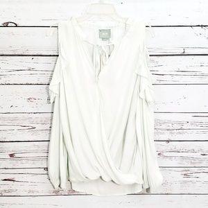 Mint cold shoulder Liesel Maeve Anthro blouse